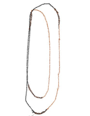 - 4-tone Simple Necklace - Faded + Rose Gold