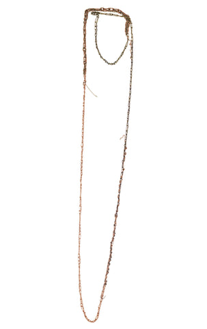 -4-tone Simple Necklace - Rose gold + Spectrum-