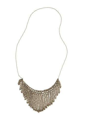 - String Fringe Necklace - Haze -