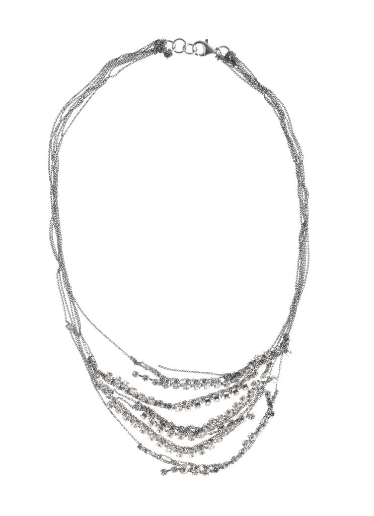 Crystal 5-Tiered Clasped Bare Chain in Silver w/White Crystals