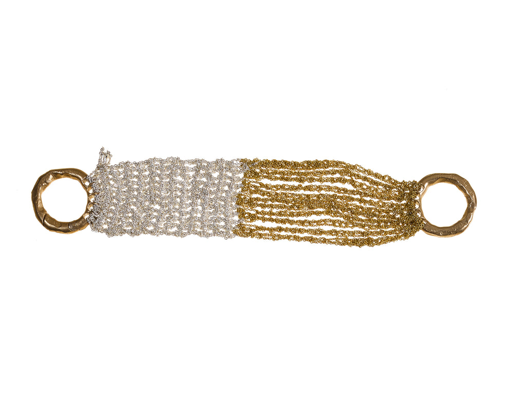 The Buxom Bracelet in Silver + Gold w/ Brass Clasp