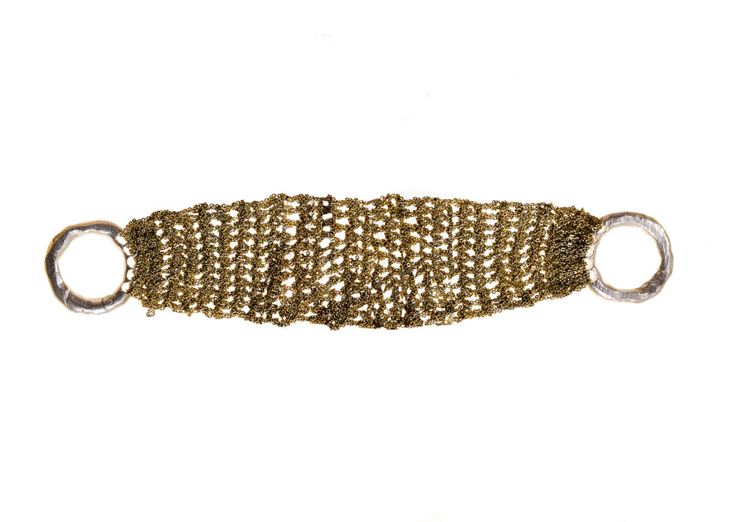 Thick Band Bracelet in Burnt Gold w/ Silver Clasp