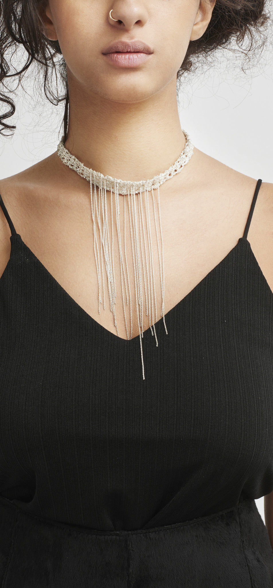 Waterfall Choker in Midnight + Burnt Gold