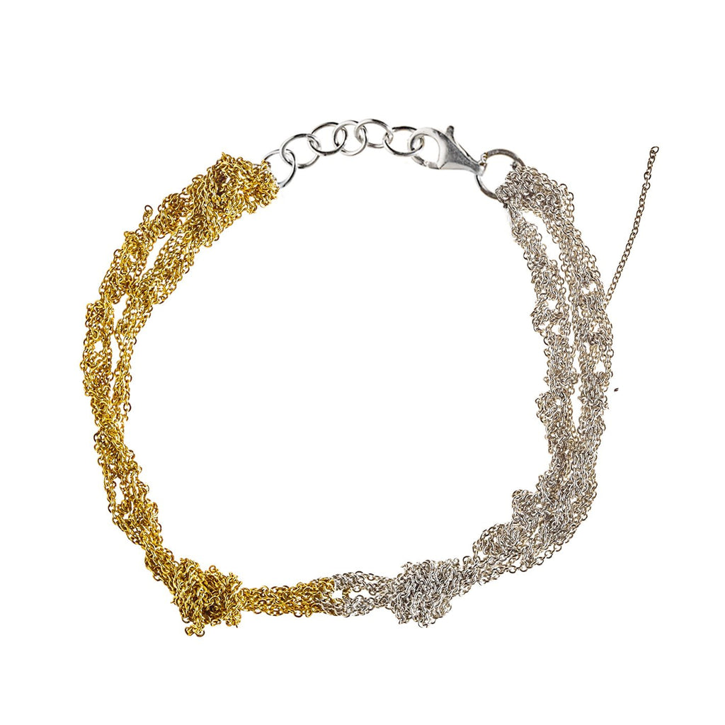 Siamese Anklet in Silver + Gold