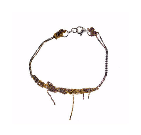 - 2-Tone Bare Chain Bracelet - Burnt gold + Spectrum -