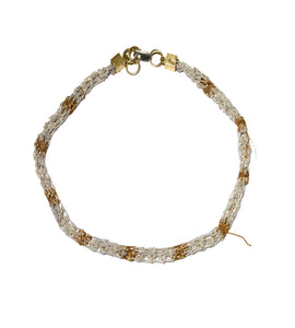 Rope Necklace in Silver + Gold w/ Brass Cube Clasp