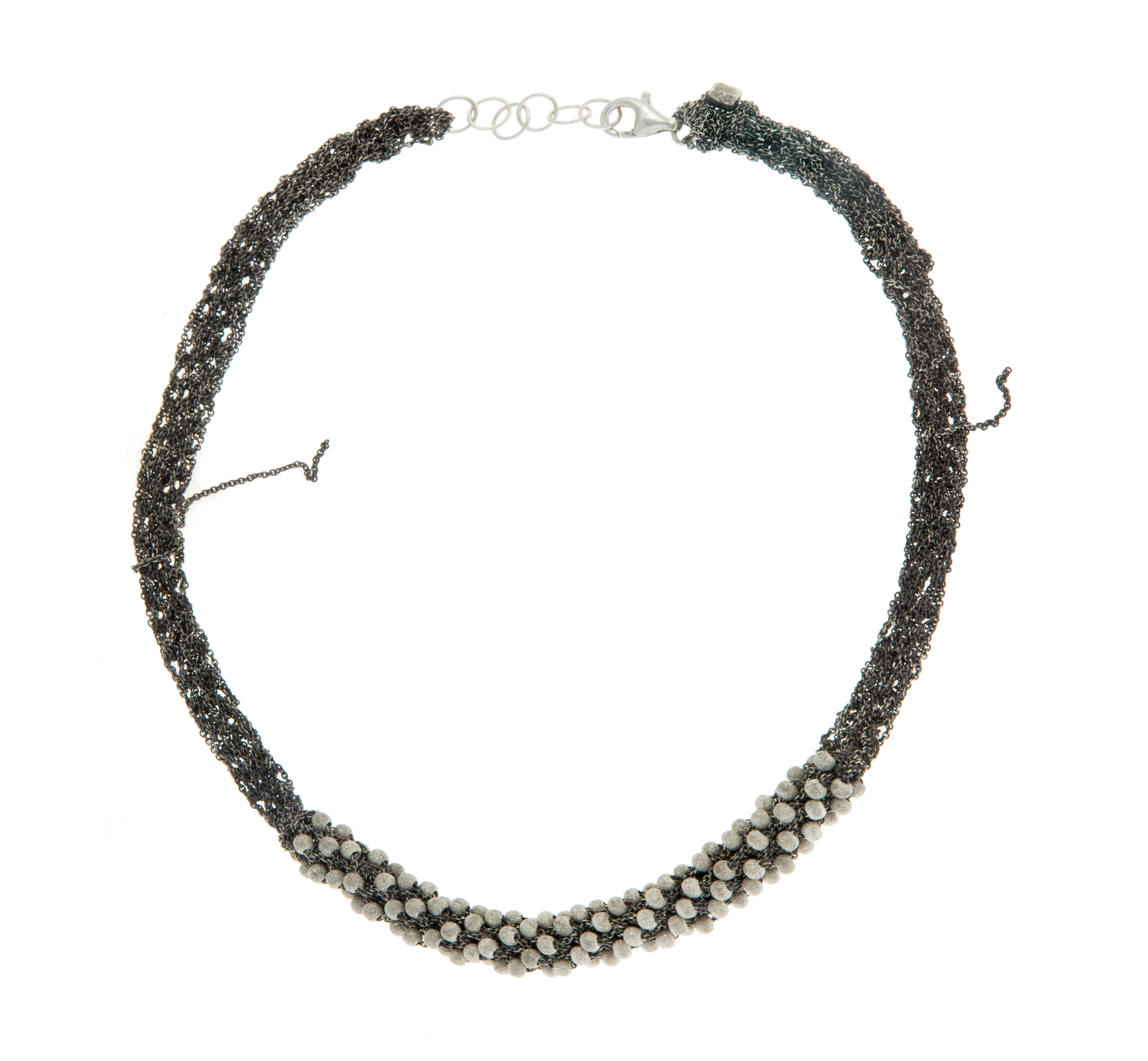 Mumps Necklace in Midnight w/Silver Stardust Beads
