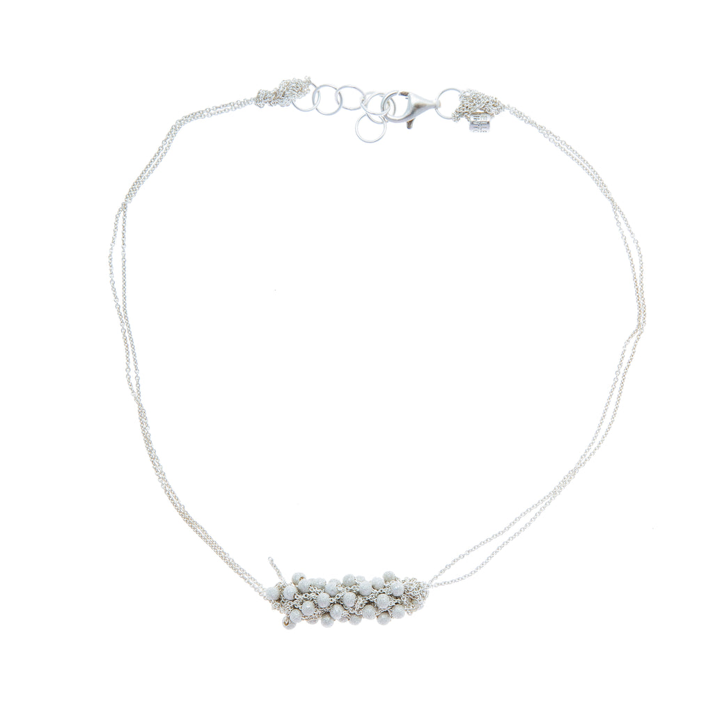 Mini Mumps Necklace in Silver w/Silver Stardust Beads