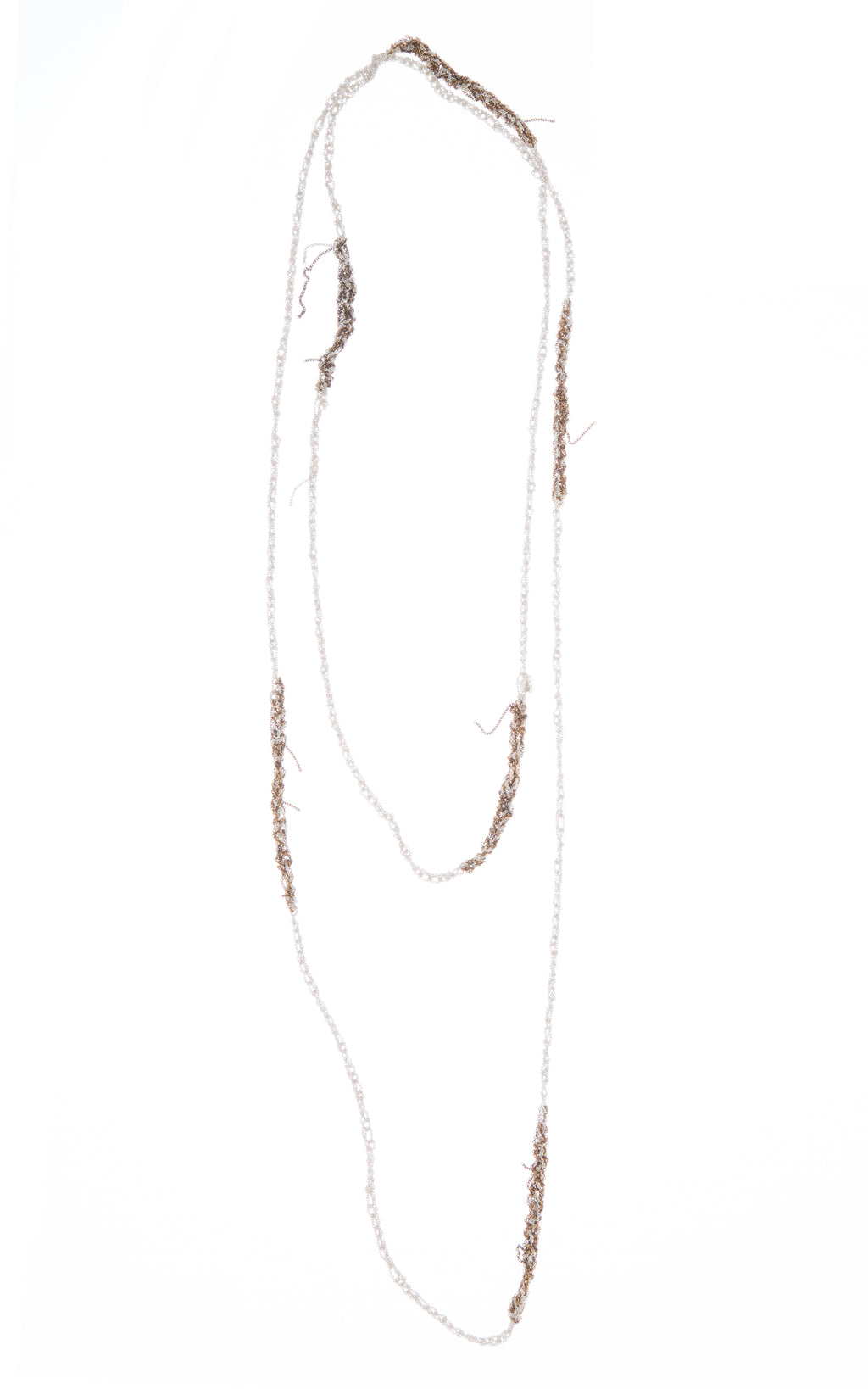 Melded Simple Necklace in Silver + Burnt Gold