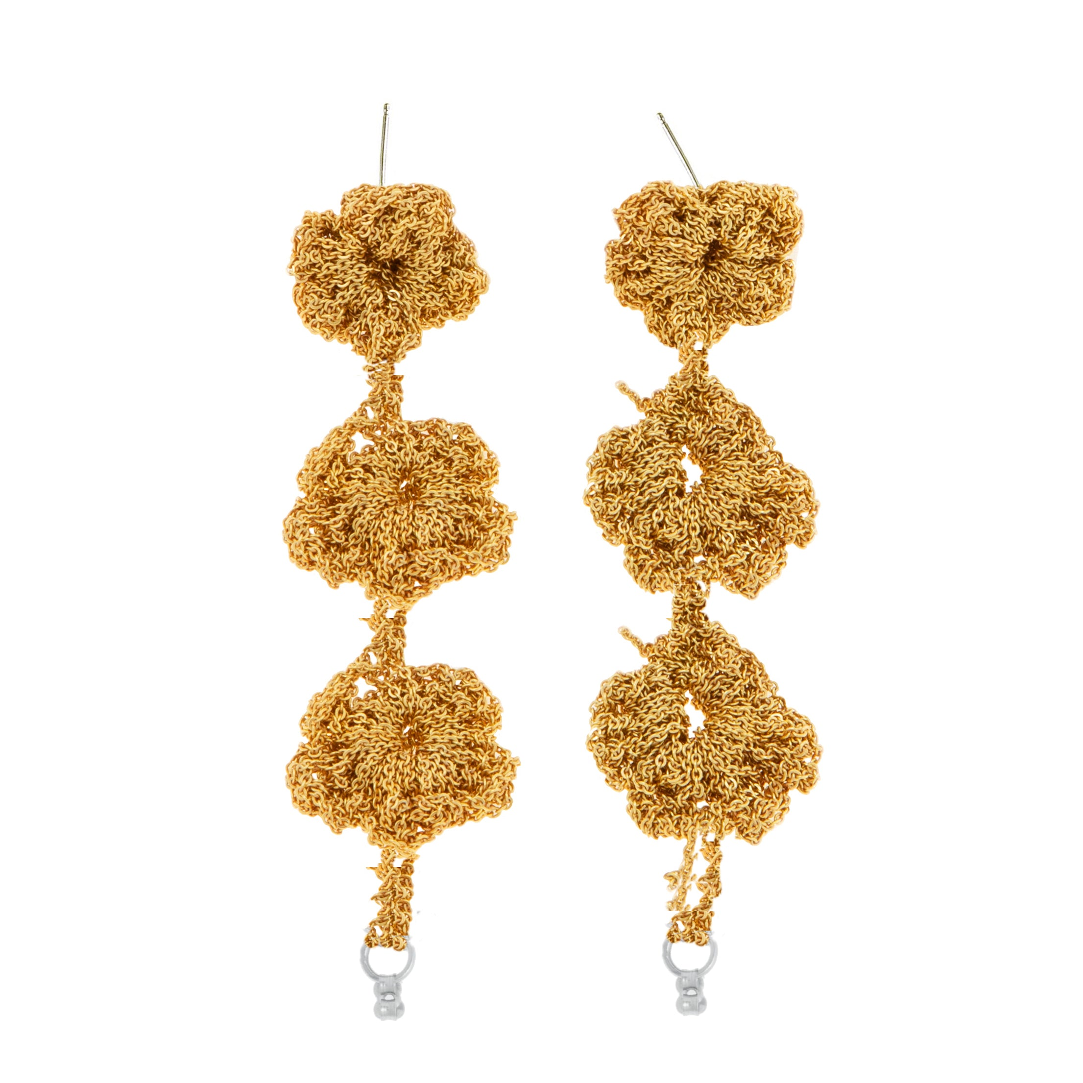 Pansy Chain Cuff Earrings in Gold