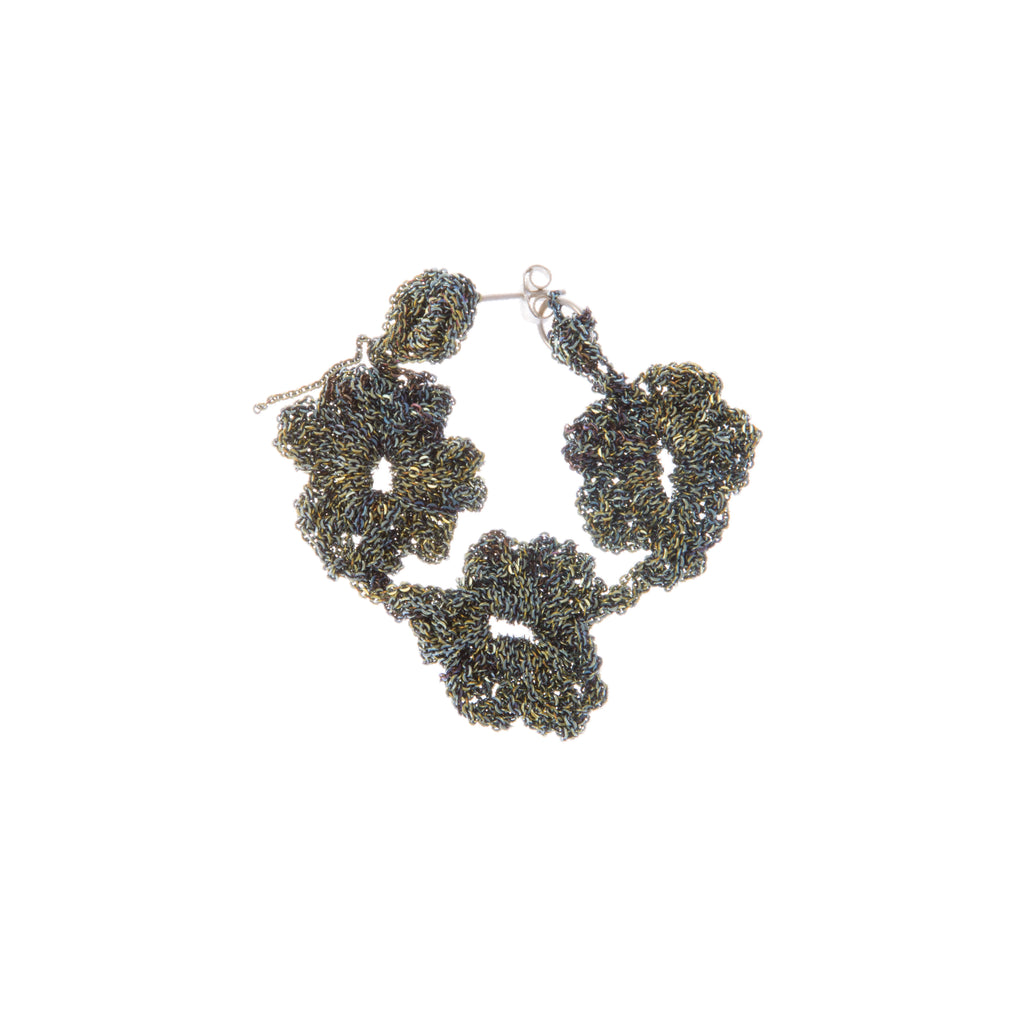 Pansy Chain Cuff Earrings in Anti-Peach