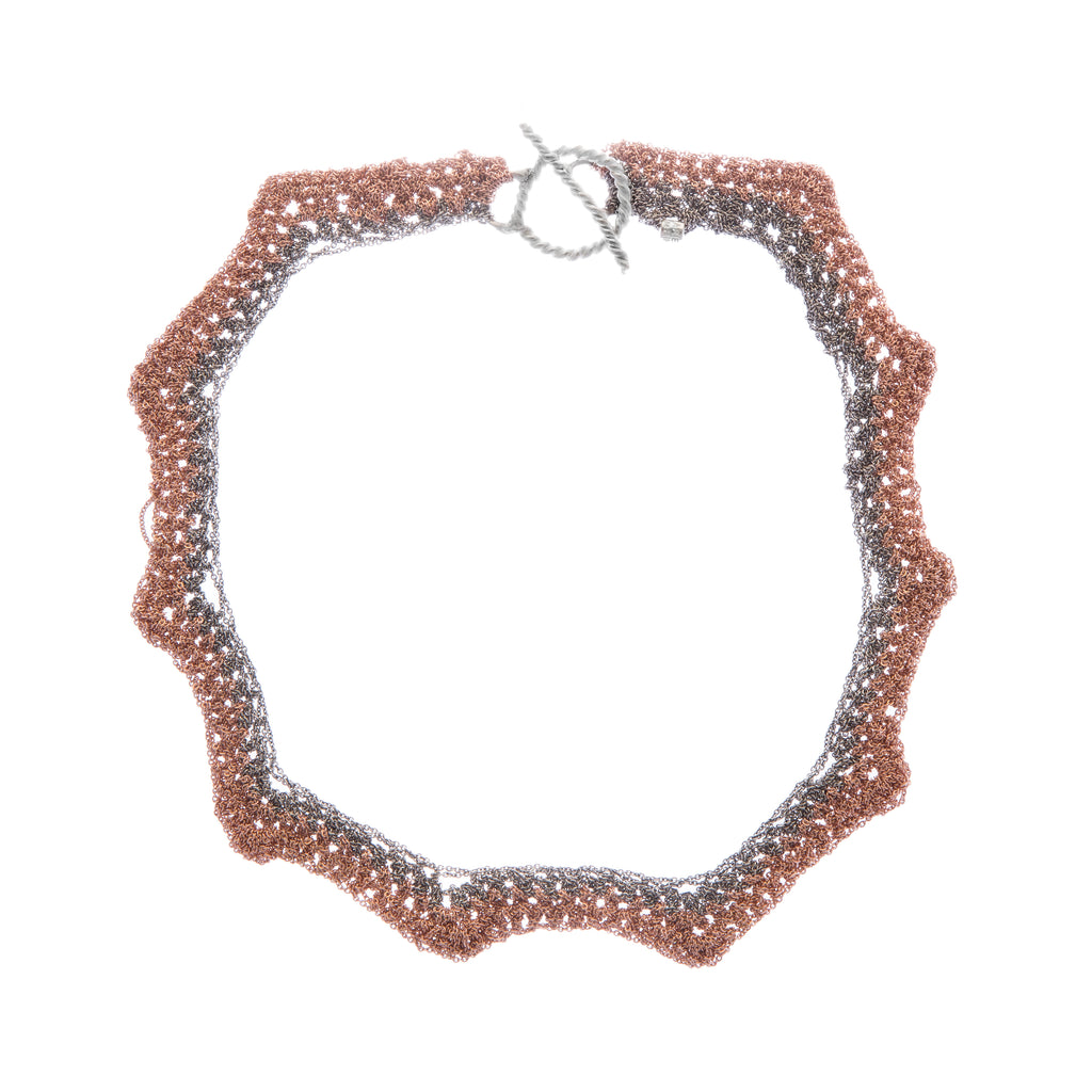 Zig Zag Necklace w/Twist Toggle in Rose Gold + Faded