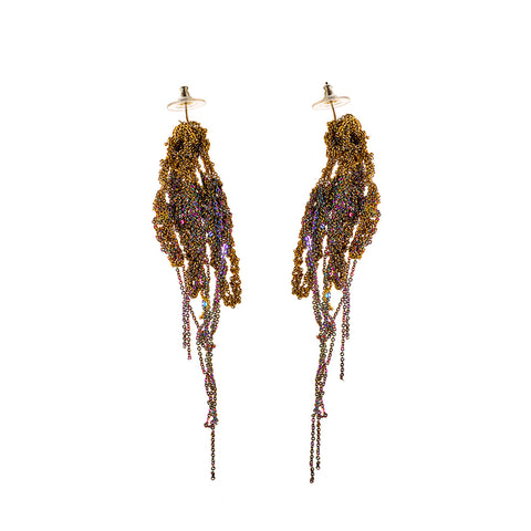- Hairy Drip Earrings - Burnt gold + Spectrum -