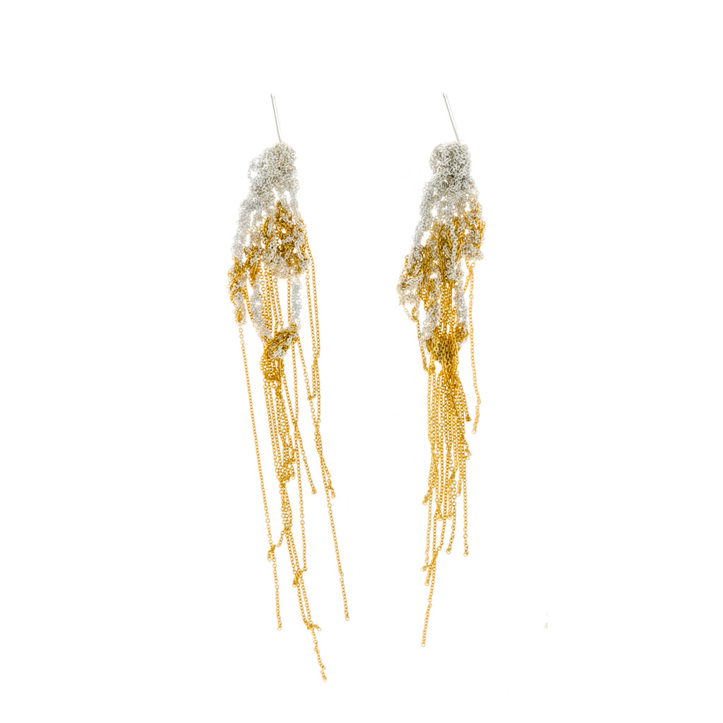 Hairy Drip Earrings in Silver + Gold