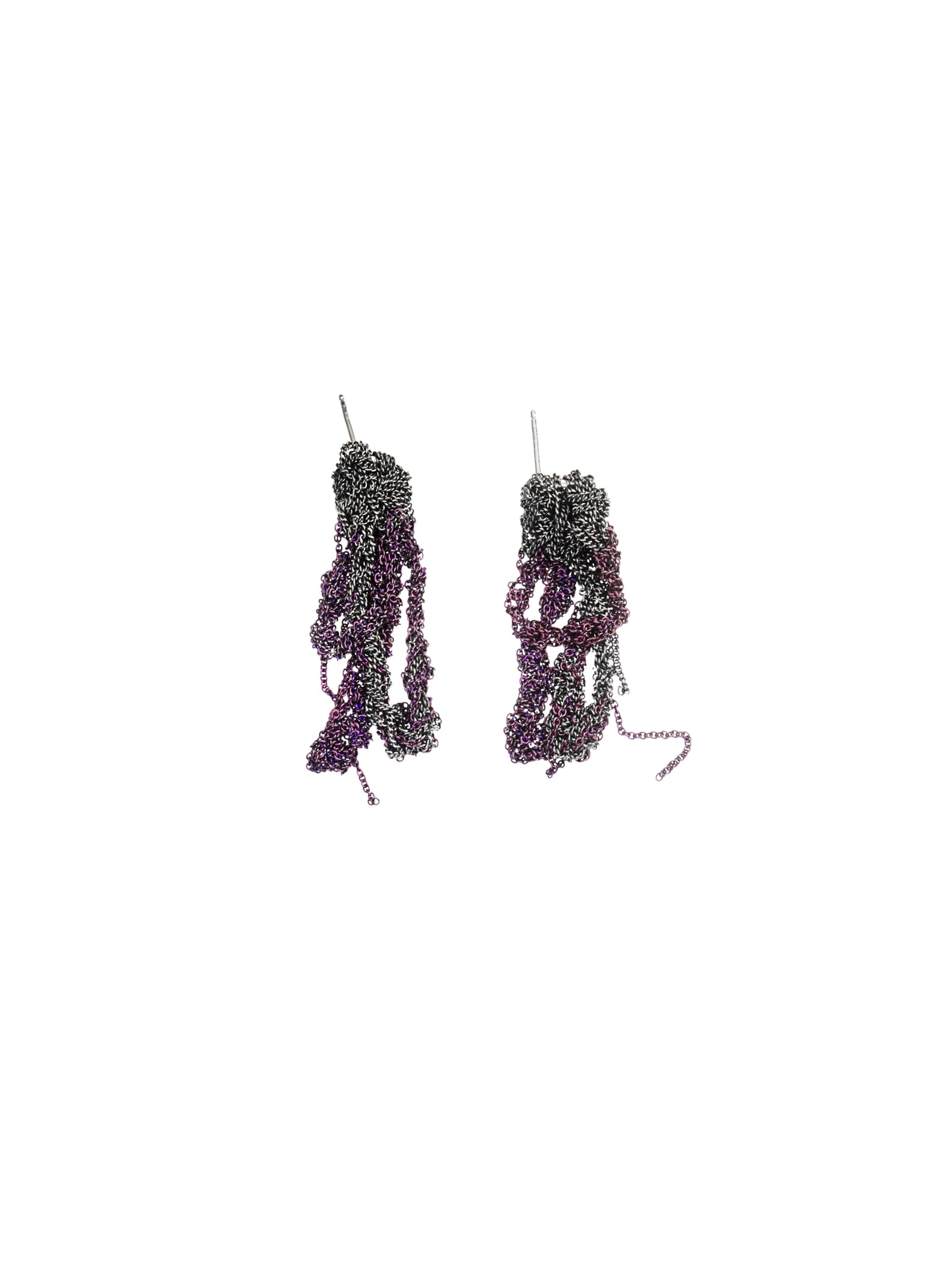 2-Tone Drip Earrings in Charcoal + Plum