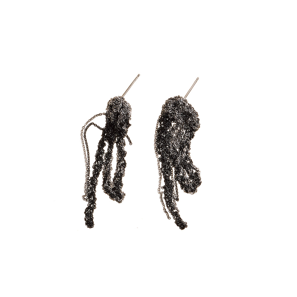 2-Tone Drip Earrings in Ash + Charcoal