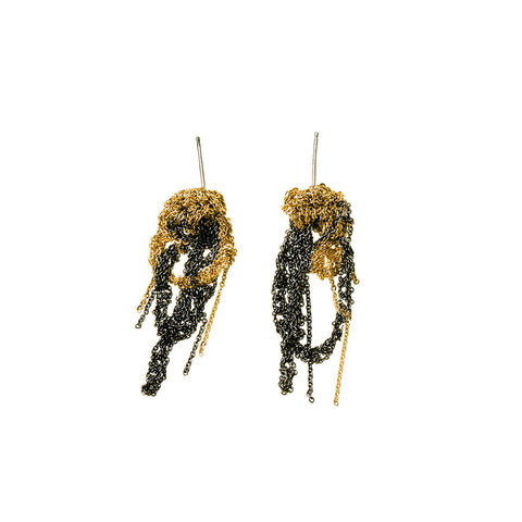- 2-Tone Drip Earrings - Gold + Midnight -