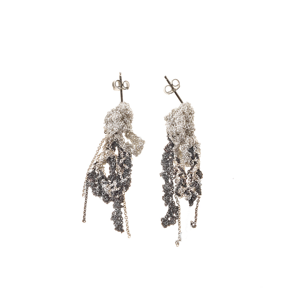 2-Tone Drip Earrings in Silver + Faded