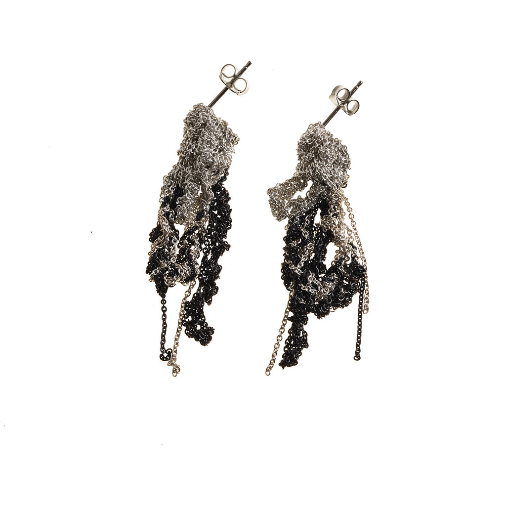 2-Tone Drip Earrings in Silver + Midnight