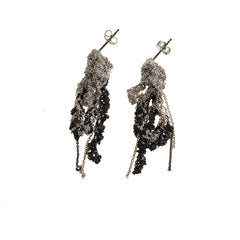 - 2-Tone Drip Earrings - Silver + Midnight -