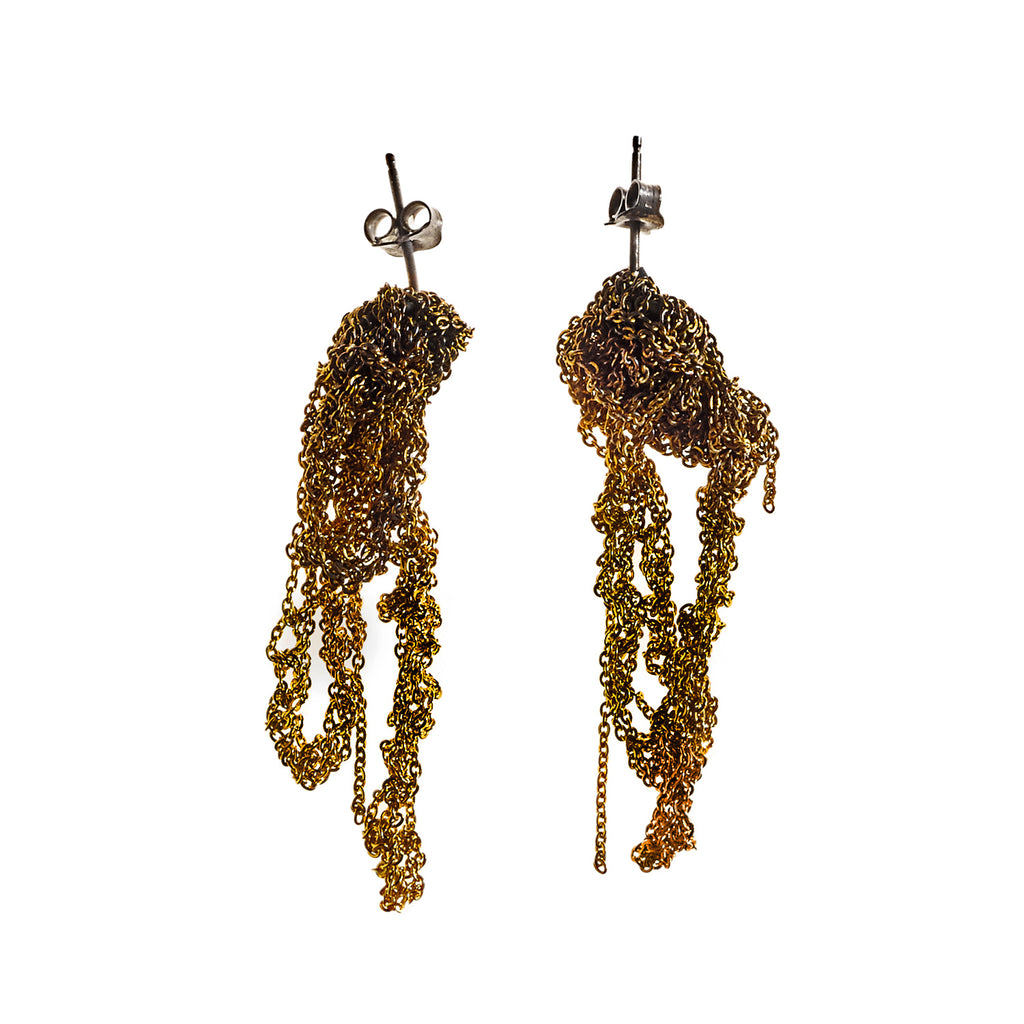 Drip Earrings in Burnt Gold