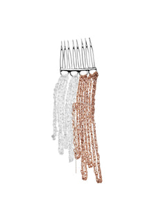 2-Tone Fringed Hair Comb in Silver + Rose Gold w/Silver Hardware