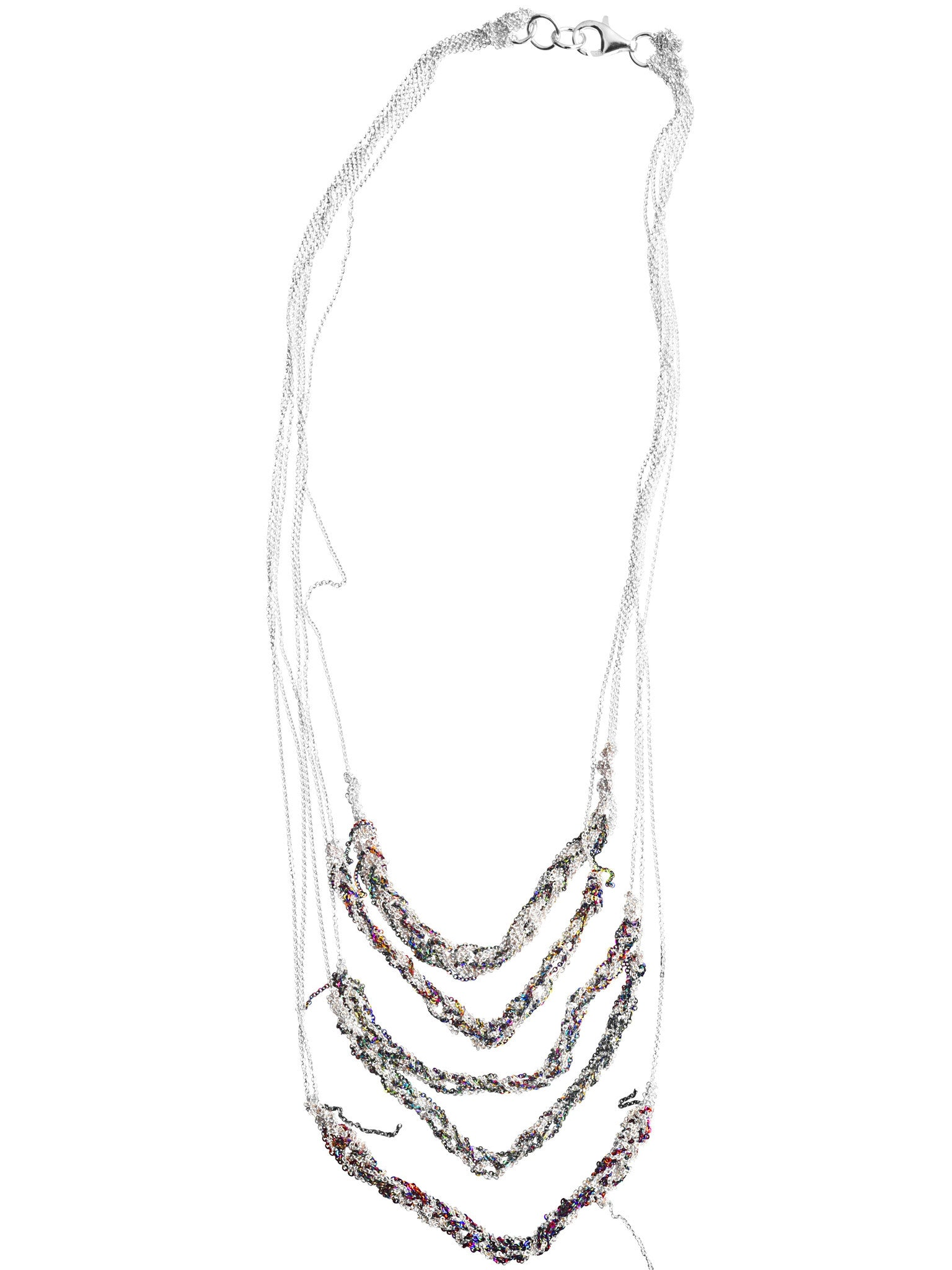 5 Tiered Bare Chain - Silver + Spectrum