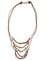 - 5-Tiered Clasped Bare Chain - Rose Gold + Silver -