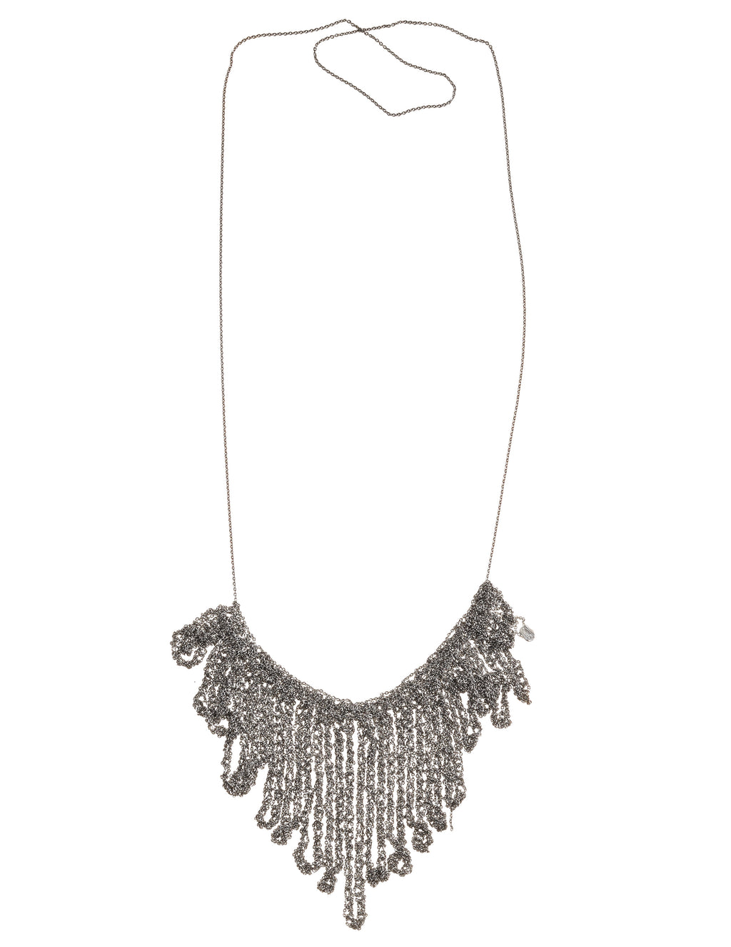 String Fringe Necklace in Faded Silver