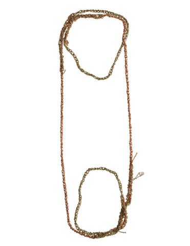 - 4-tone Simple Necklace - Haze + Rose gold