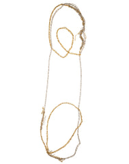 - 4-tone Simple Necklace - Silver + Gold -