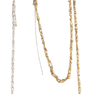 4-Tone Simple Necklace in Silver + Gold