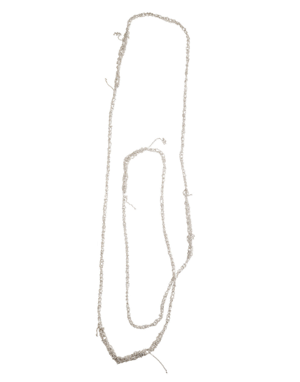 4-Tone Simple Necklace in Silver