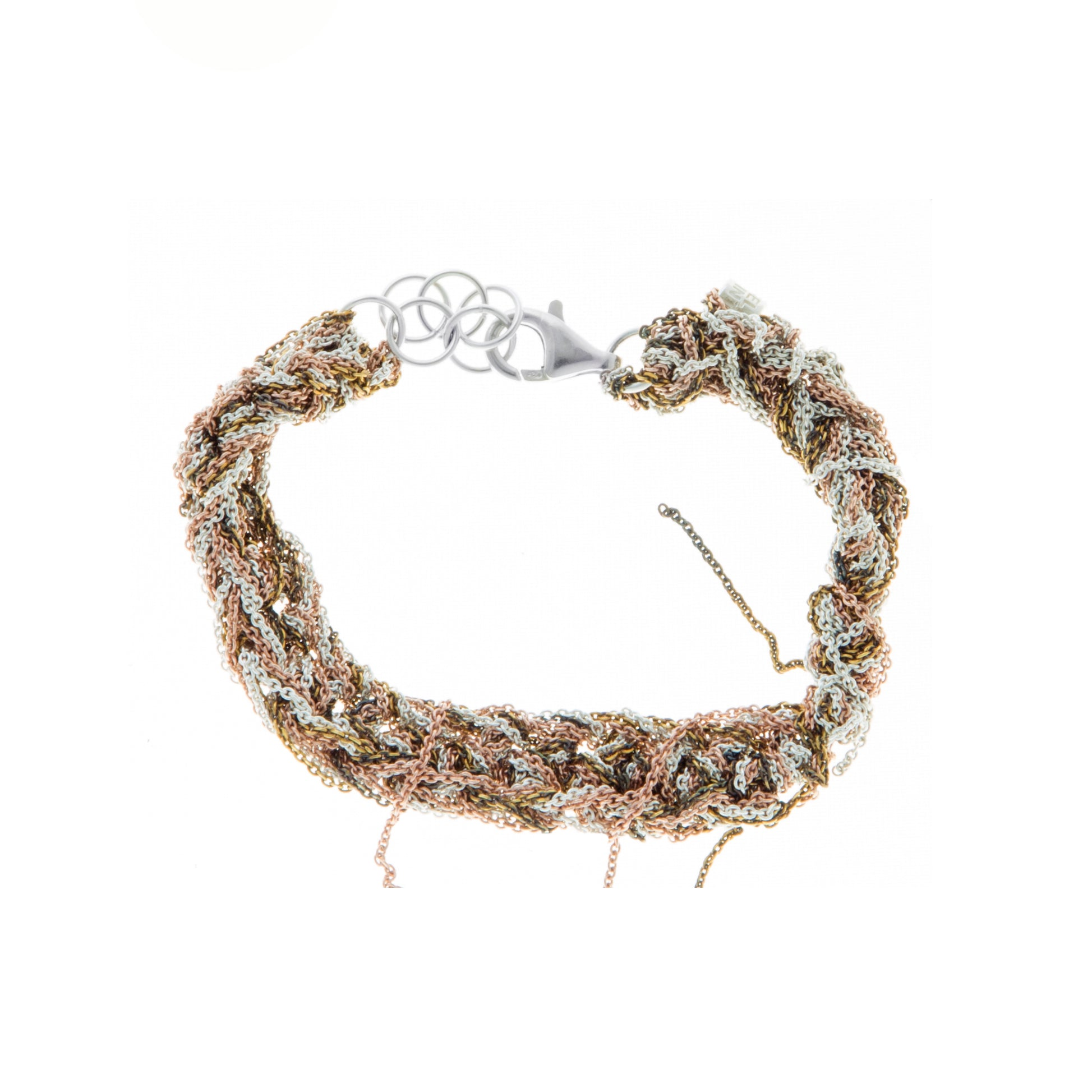 Tennis Bracelet in Rose Gold + Burnt Gold + Silver w/Lobster Clasp