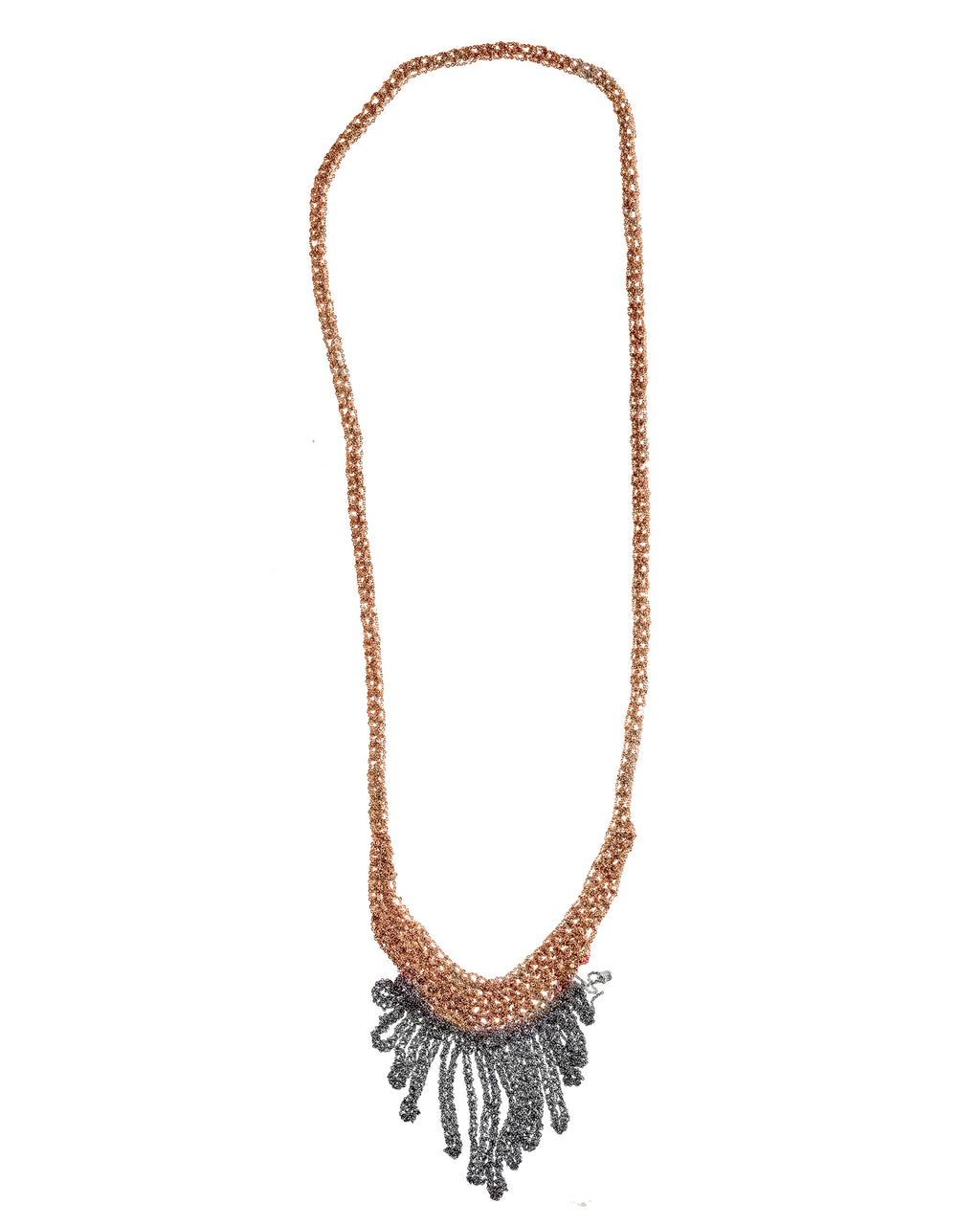 Small Fringe Necklace in Rose Gold + Faded