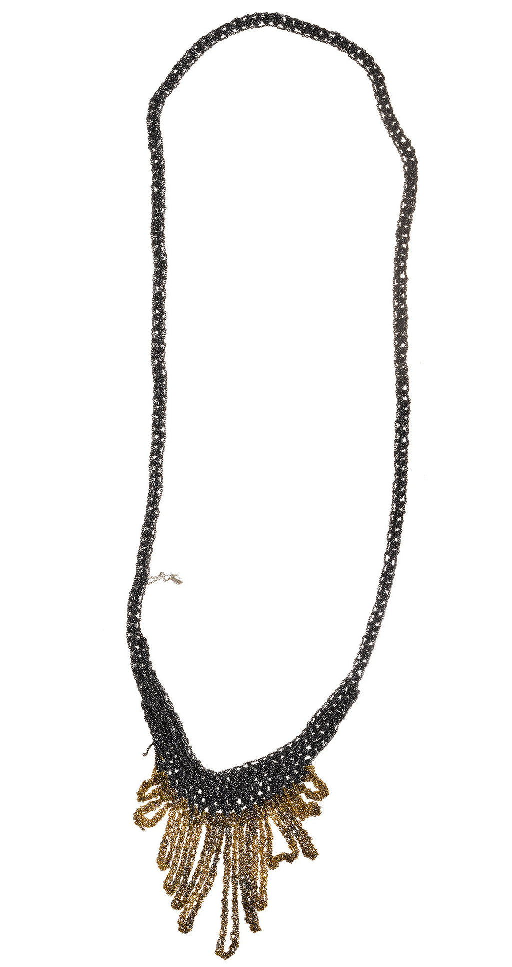 Small Fringe Necklace in Midnight + Burnt gold