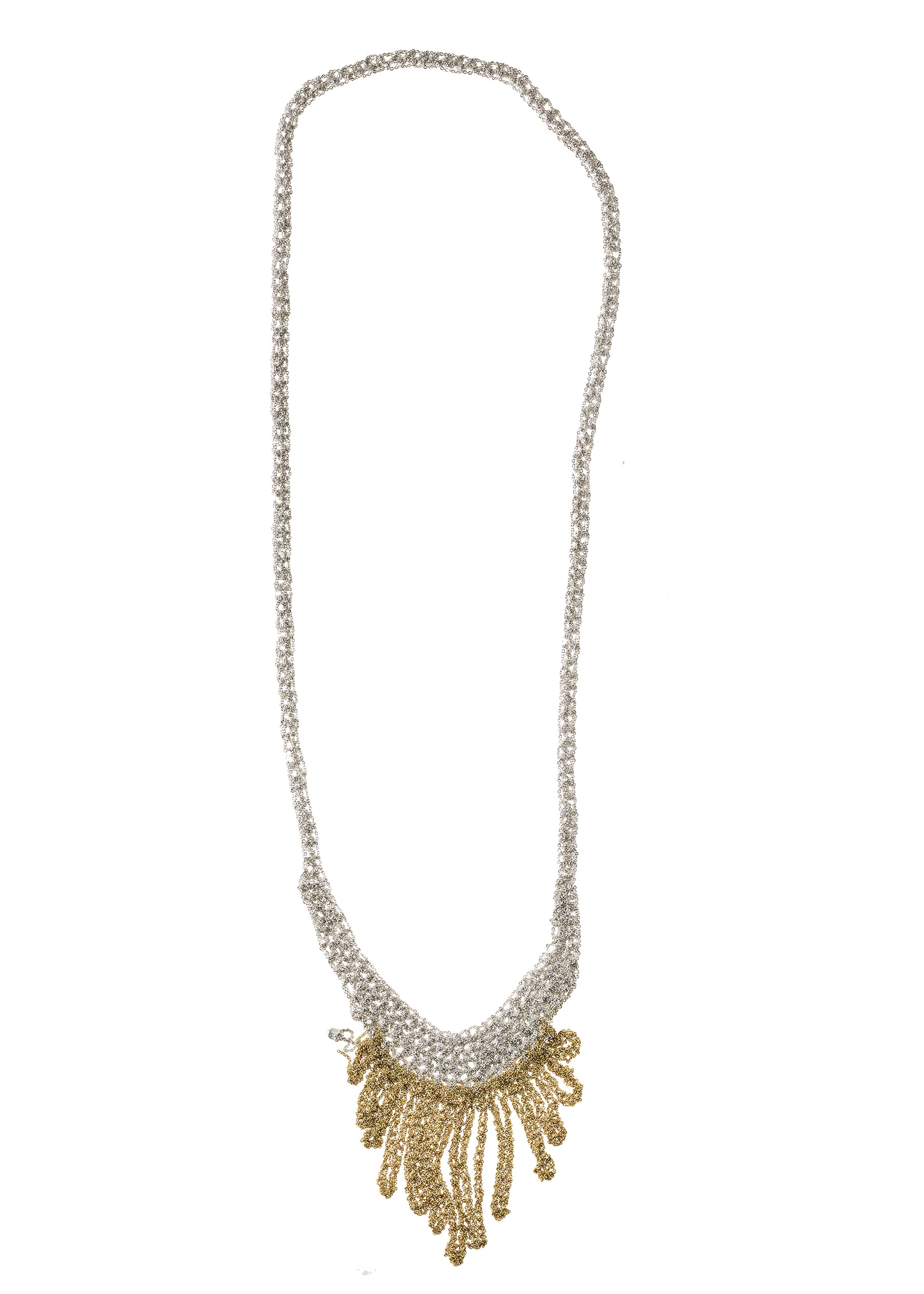 Small Fringe Necklace in Silver + Haze