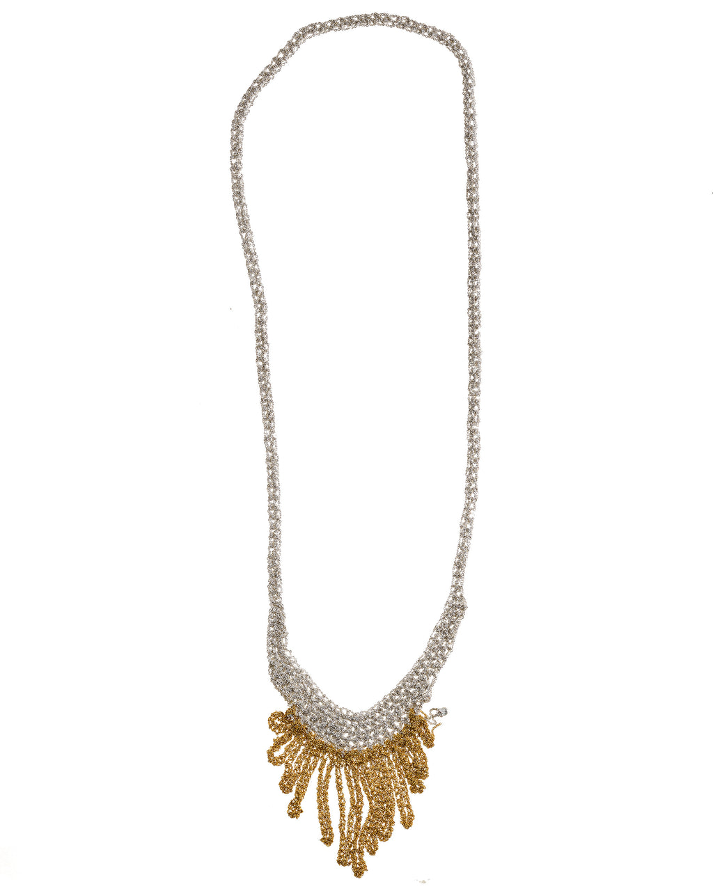 Small Fringe Necklace in Silver + Gold