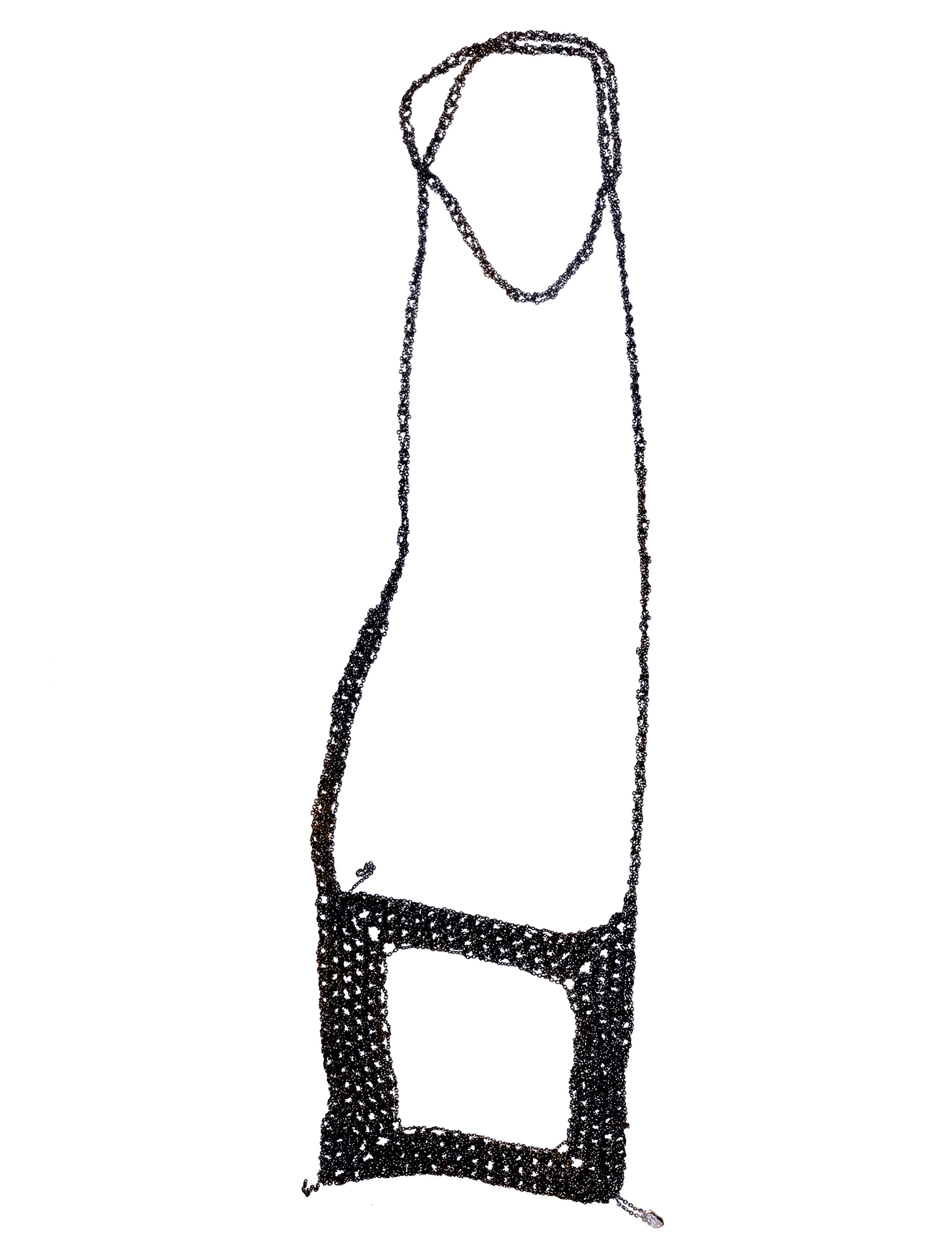Square Necklace in Charcoal