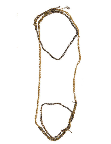 - 4-tone Simple Necklace - Burnt gold + Gold -