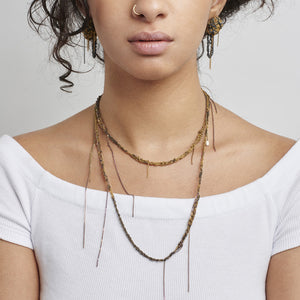 Hairy Simple Necklace in Burnt Gold + Midnight