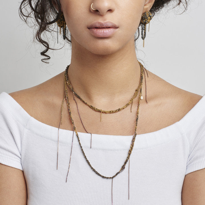 Hairy Simple Necklace in Silver + Gold