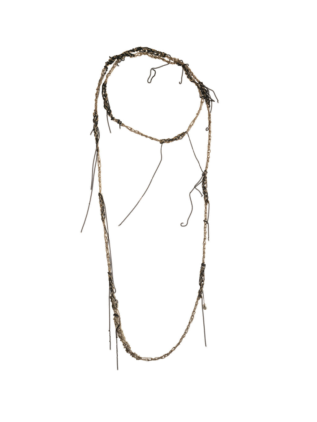 Hairy Simple Necklace in Silver + Faded silver