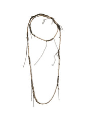 - Hairy Simple Necklace - Silver + Faded silver -