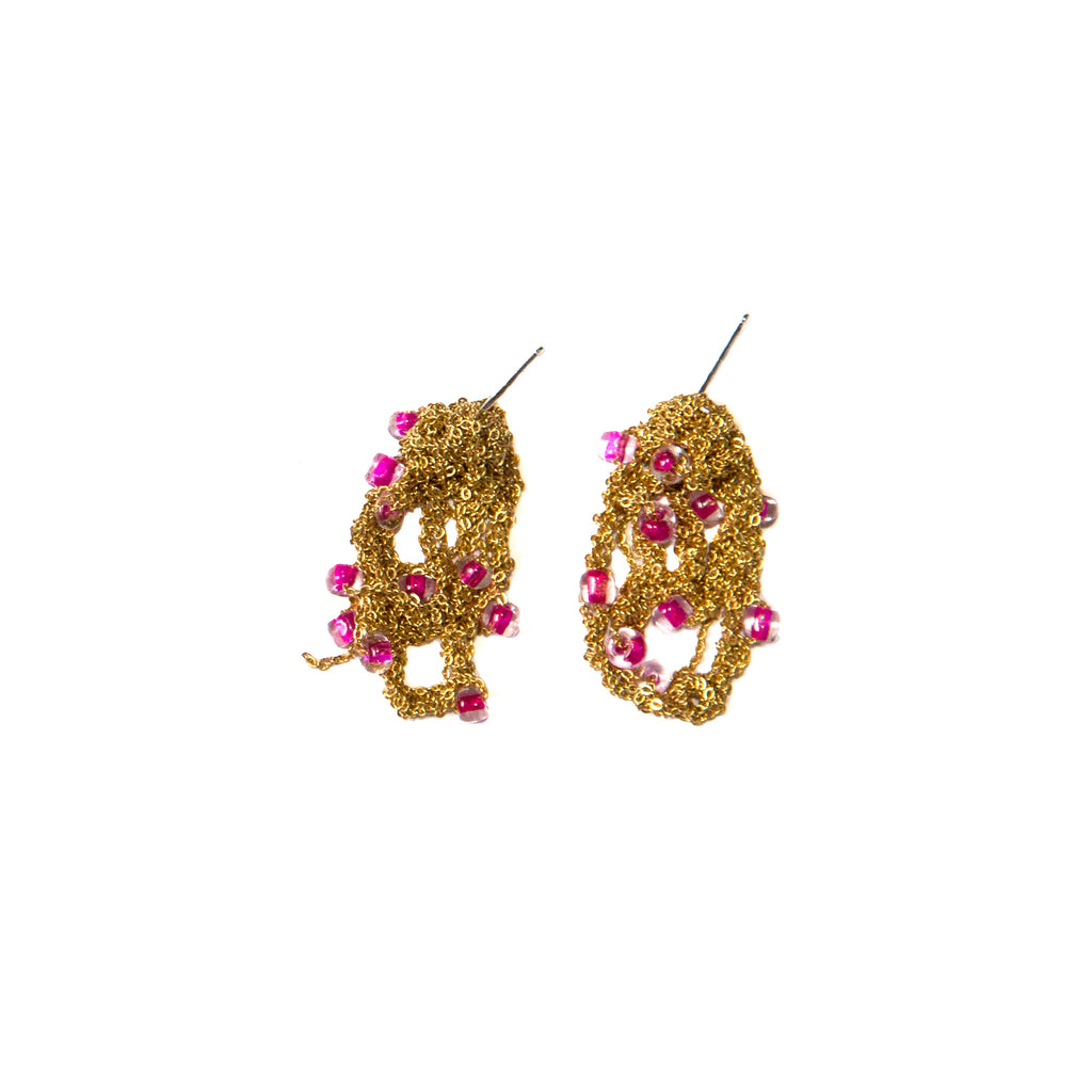 Beaded Drip Earrings in Gold w/ Pink Beads