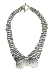 - 3 Stones Bib Necklace - Ash + Ice -