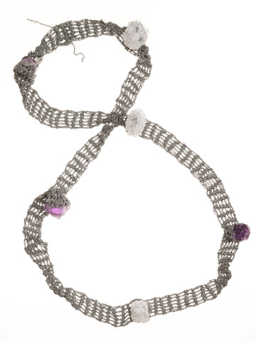 Ribbon Necklace With Captured Stones