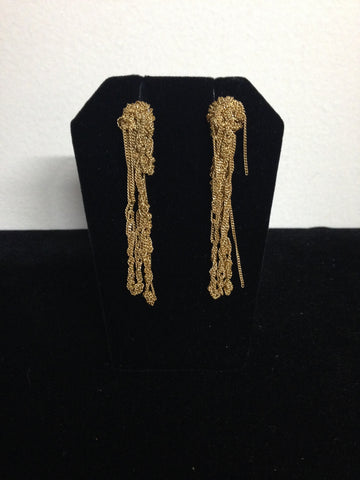 | Extra Long Drip Earrings - Burnt Gold |