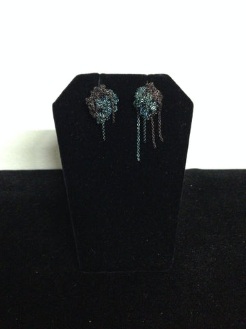 | 2-Tone Bead Earrings - Freedom Blue + Chocolate |