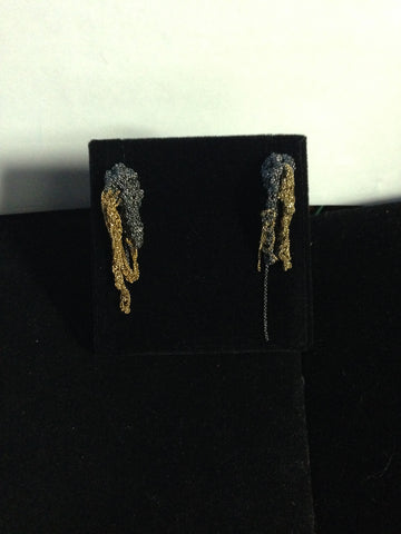 | 2-Tone Drip Earrings - Midnight + Burnt gold |
